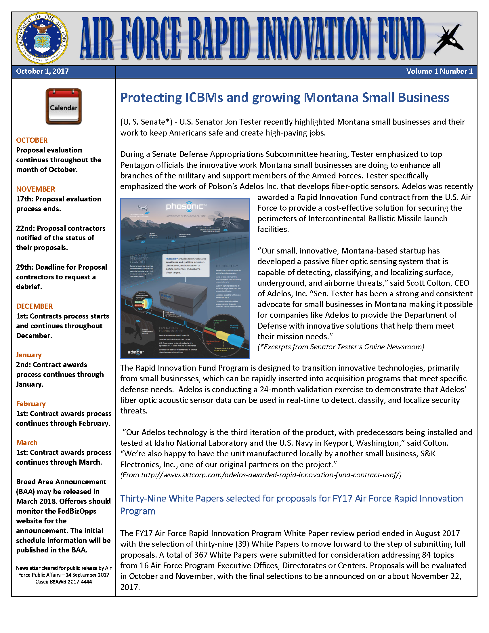 U.S. Air Force - Rapid Innovation Fund (RIF) Newsletter Story about Adelos